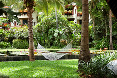 Hammock at the recreation area of luxury hotel Stock Image