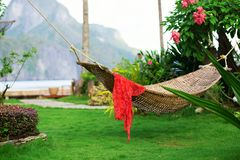 Hammock with red pareo Royalty Free Stock Photography