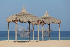 Hammock on a red sea beach Stock Photo