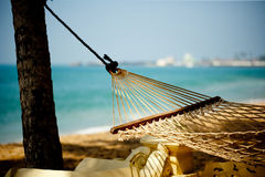 Hammock relaxation on beach and ocean Royalty Free Stock Photo