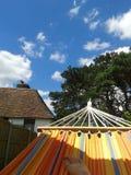 Hammock's view. Summer hammock relax Royalty Free Stock Photo