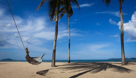 Hammock with sand Royalty Free Stock Image