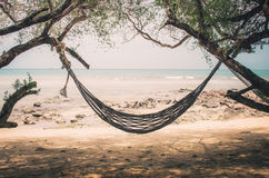 Hammock and sea beach vintage Royalty Free Stock Photo