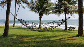 Hammock and the sea with coconut tree Stock Image