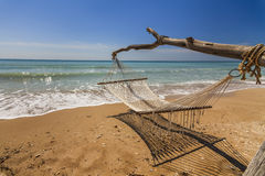 Hammock on the shore. Of the sea Royalty Free Stock Photos