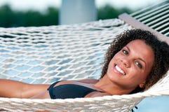 hammock smiling 图库摄影
