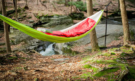 Hammock By The Stream Royalty Free Stock Photography