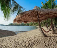 Hammock  and sunshade on a tropical beach Stock Photo