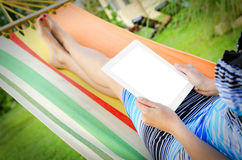 In Hammock With Tablet PC Royalty Free Stock Images