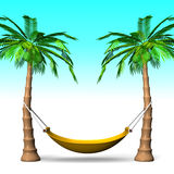 Hammock On Tall Palm Trees With Blue Background Royalty Free Stock Image