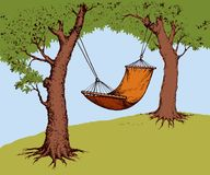 Hammock on tree. Vector illustration. Old fabric orange sling in shadow of green oaks on field for swing isolated on white backdrop. Bright color hand drawn Royalty Free Stock Images