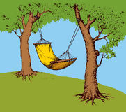 Hammock on tree. Vector illustration Royalty Free Stock Photo
