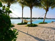 Hammock between trees. Photo of the hammock between trees on tropical island of maldives Stock Photos