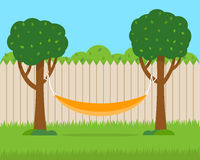 Hammock with trees on house backyard. Flat style vector illustration Stock Image