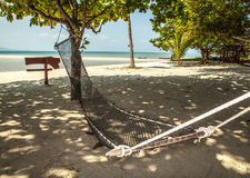 Hammock on tropic beach Stock Photography