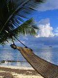 Hammock on tropical beach. Hammock on a palm tree on a tropical beach. Concept of relaxation and vacation Royalty Free Stock Photo