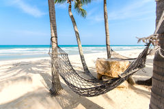Hammock in a tropical beach.  Stock Photo