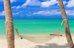 Hammock on a tropical beach. Vacation background Royalty Free Stock Photo