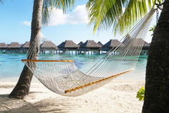 Hammock on tropical beach in Bora Bora, French Polynesia. Bora Bora, French Polynesia - August 20, 2017: Hammock on tropical beach in Bora Bora, French Polynesia Stock Images