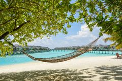 Hammock at the tropical beach with over water bungalows at resort. Hammock at the tropical beach with over water bungalows at Maldives Stock Photography