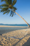 Hammock on tropical beach and sea.  Stock Image