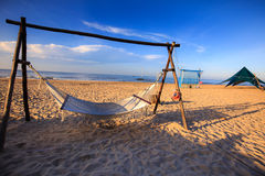Hammock at the tropical beach. In a sunny day at the beach Lagi, Vietnam Stock Image