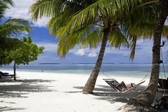 The hammock with tropical lagoon view, Maldives island Stock Photos