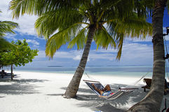The hammock with tropical lagoon view, Maldives island Royalty Free Stock Images