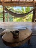 Hammock at tropical villa. In Bali royalty free stock image