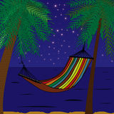 Hammock. In tropics at night with sky with stars and palms Royalty Free Stock Photos