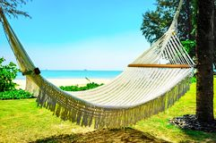 Hammock between two palm trees on the beach Stock Photography