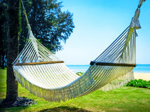 Hammock between two palm trees on the beach Royalty Free Stock Photo