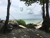 Hammock between trees on the white sand beach with sea in backgr Royalty Free Stock Photos