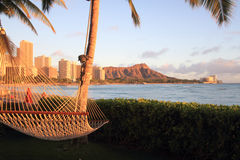 Hammock with view of Diamond Head Royalty Free Stock Photo