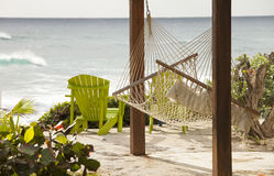 Hammock with view of the ocean Royalty Free Stock Photography