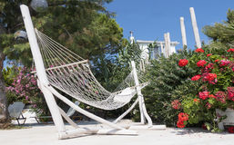 Hammock in a villa overlooking Stock Photography