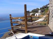 Hammock with volcano view, Santorini. Luxury holidays at amazing Greece. Beautiful landscape of Santorini island (Fira stock images