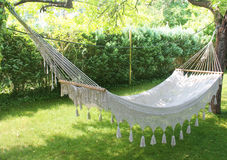Hammock. White hammock in the garden Royalty Free Stock Images