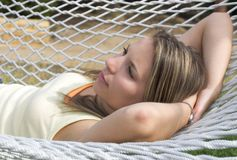Hammock Woman. Relaxed hammock woman Royalty Free Stock Images