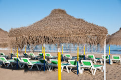 Hammocks in a beach Royalty Free Stock Images