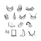Hammocks icons set Royalty Free Stock Image