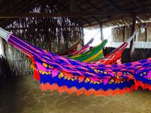 Hammocks. Punta Galinas thatched hut with hammocks Royalty Free Stock Photo