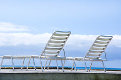 Hammocks with sea views stock photo