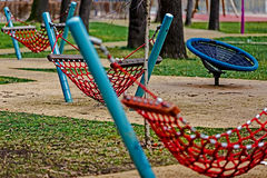 Hammocks with string red Royalty Free Stock Photos