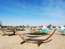 Hammocks and sunbeds on the beach. Retro design objects for beach royalty free stock image