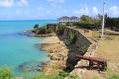 Hamn Antigua Barbuda för FortJames St. Johnâs Arkivfoto