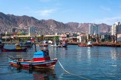 Hamn av Antofagasta i den Atacama regionen av Chile Royaltyfri Fotografi