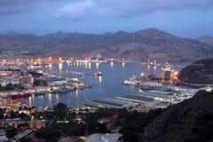 Hamn av Cartagena på natten, Spanien Royaltyfri Foto