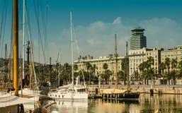 Hamn Barcelona för litet fartyg Fotografering för Bildbyråer