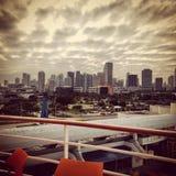 Hamn för Miami florida horisontskyskrapa fotografering för bildbyråer